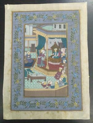 Indo Persian Painting Miniature Old Antique Handmade Vintage Art Silk #23208