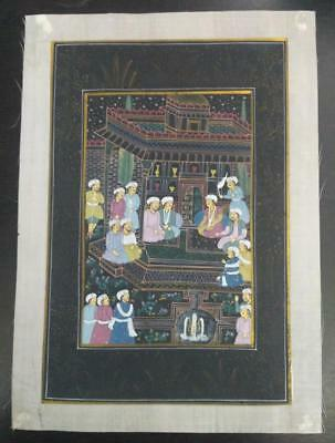 Indo Persian Painting Miniature Old Antique Handmade Vintage Art Silk #23231