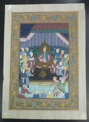 Indo Persian Painting Miniature Old Antique Handmade Vintage Art Silk #23219