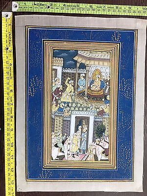 Indo Persian Old Antique Miniature Handmade Painting, Vintage India Art #7534