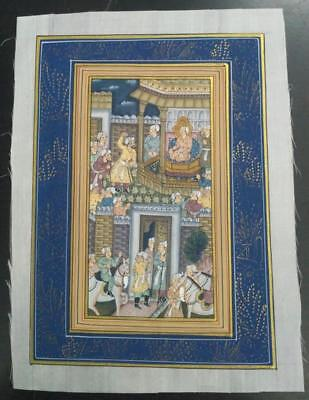 Indo Persian Painting Miniature Old Antique Handmade Vintage Art Silk #23148