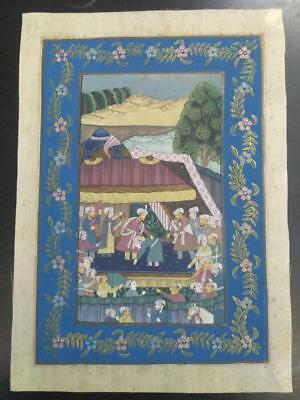 Indo Persian Painting Miniature Old Antique Handmade Vintage Art Silk #23217