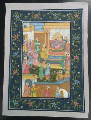 Indo Persian Painting Miniature Old Antique Handmade Vintage Art Silk #23205