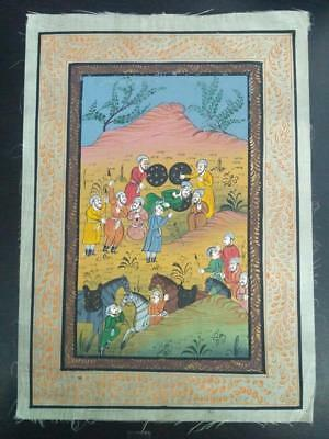 Indo Persian Painting Miniature Old Antique Handmade Vintage Art Silk #23237