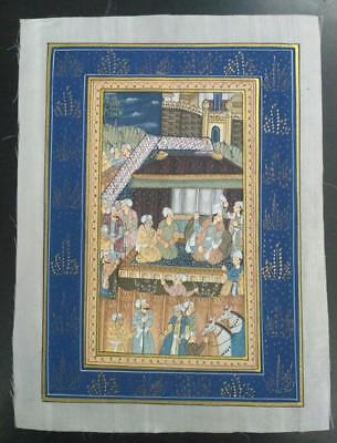 Indo Persian Painting Miniature Old Antique Handmade Vintage Art Silk #23156