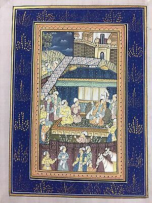 Indo Persian Old Antique Miniature Handmade Painting, Vintage India Art #7024