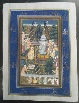 Indo Persian Painting Miniature Old Antique Handmade Vintage Art Silk #23171