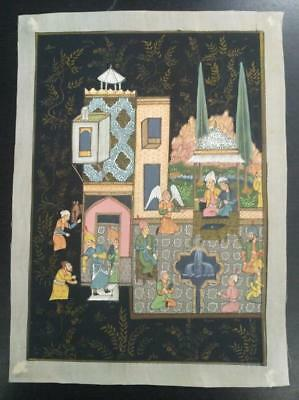 Indo Persian Painting Miniature Old Antique Handmade Vintage Art Silk #23198