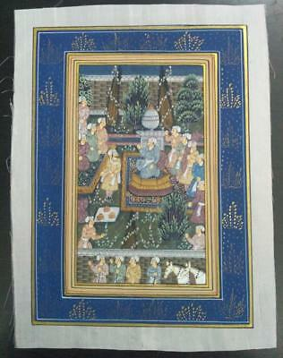 Indo Persian Painting Miniature Old Antique Handmade Vintage Art Silk #23159