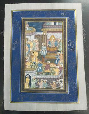 Indo Persian Painting Miniature Old Antique Handmade Vintage Art Silk #23141