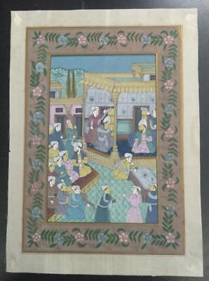 Indo Persian Painting Miniature Old Antique Handmade Vintage Art Silk #23211