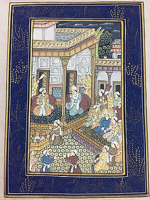 Indo Persian Old Antique Miniature Handmade Painting, Vintage India Art #7033