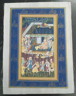 Indo Persian Painting Miniature Old Antique Handmade Vintage Art Silk #23165