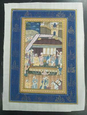 Indo Persian Painting Miniature Old Antique Handmade Vintage Art Silk #23172