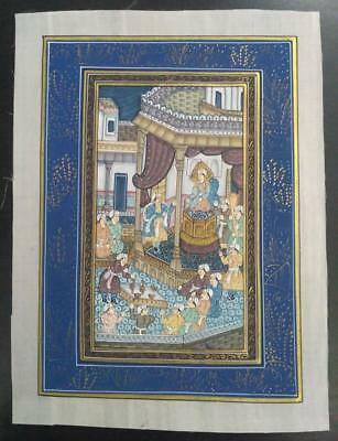 Indo Persian Painting Miniature Old Antique Handmade Vintage Art Silk #23180