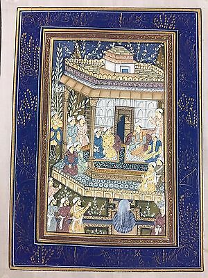 Indo Persian Old Antique Miniature Handmade Painting, Vintage India Art #7026