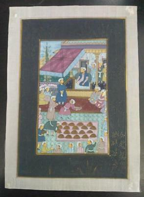 Indo Persian Painting Miniature Old Antique Handmade Vintage Art Silk #23234