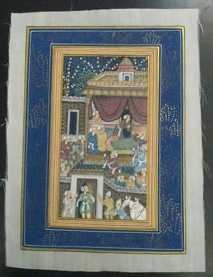 Indo Persian Painting Miniature Old Antique Handmade Vintage Art Silk #23154