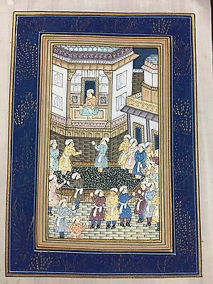 Indo Persian Old Antique Miniature Handmade Painting, Vintage India Art #7017
