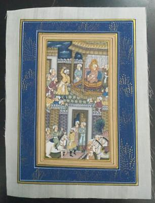 Indo Persian Painting Miniature Old Antique Handmade Vintage Art Silk #23164