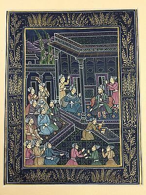 Indo Persian Old Antique Miniature Handmade Painting, Vintage India Art #7158