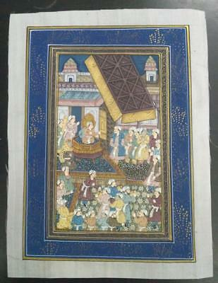 Indo Persian Painting Miniature Old Antique Handmade Vintage Art Silk #23185