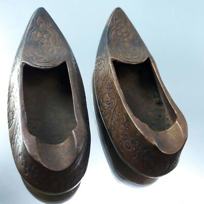 Vintage Small Brass Dutch Shoes Clog Souvenir from Holland aged 50 years decor