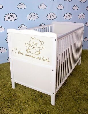 Wooden Baby Cot Bed ✔Converts to Junior Bed size 120x60 - Mattress including