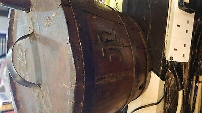 Old Rare Antique Wooden Keg  Vessel For Water