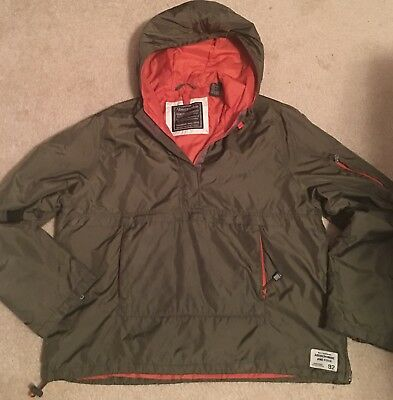abercrombie and fitch Kids Pull Over Hooded Windbreaker Raincoat Pockets Sz M