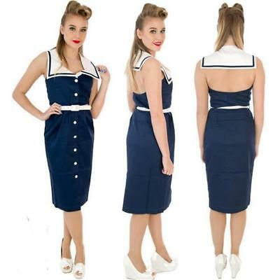 HELL BUNNY 50 s NAUTICAL STYLE PENCIL DRESS
