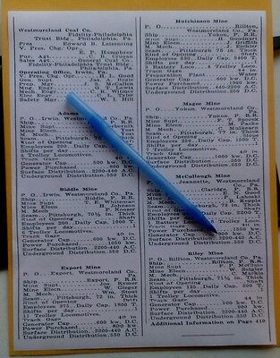 1938 Westmoreland Coal PA. Mine List Adams Biddle Export Magee Riley McCullough+