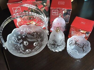 Mikasa Silent Night Frosted Crystal Christmas Set - Bell, Bowl, Candle Holder