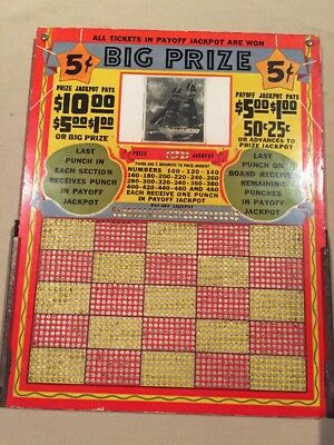 Vintage 5c Punch Board Gambling Big Prize