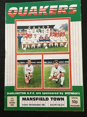 Darlington v Mansfield Town - FA Cup 1st rd - 1986/87