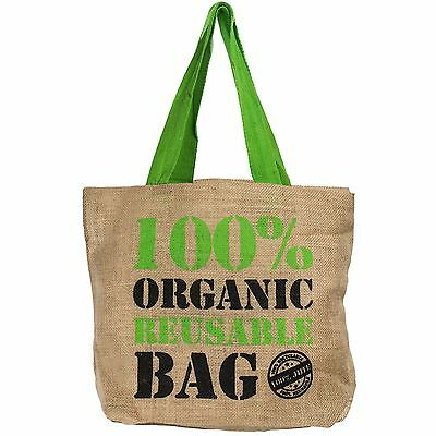 Natural Eco Friendly Grocery Shopping Bag Jute Hessian Shopper Reusable Tote