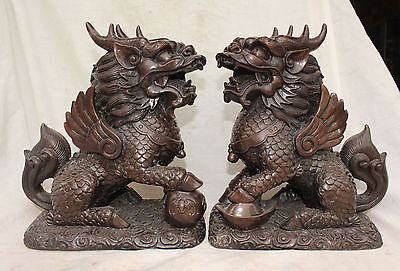 """11"""" Chinese Bronze Guardian Phylactery Flying Kylin Beast Unicorn Chi-lin Pair"""