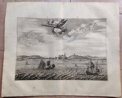 GHANA ELMINA 1676 Olfert DAPPER NICE ANTIQUE COPPER ENGRAVED VIEW 17e CENTURY