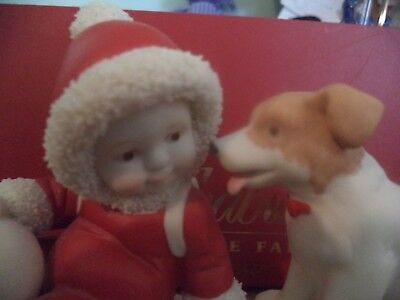 Dept 56 Snowbabies Babies On The Farm 2001 BABIES BEST FRIEND Snowbaby With Dog