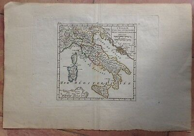 ITALY NICE ANTIQUE COPPER ENGRAVED MAP IN COLORS XVIIIe CENTURY
