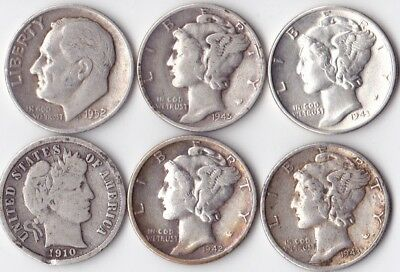 SILVER DIME LOT - 6 circulated coins        #2