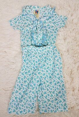 Vintage Carters Pajama Sleepwear Set Unisex Size 6M Blue Floral Snap Two Piece