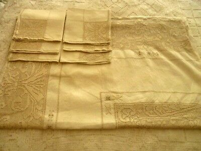 Large Vintage Beige Linen Table Cloth W/embroidery & Lace + 6 Napkins