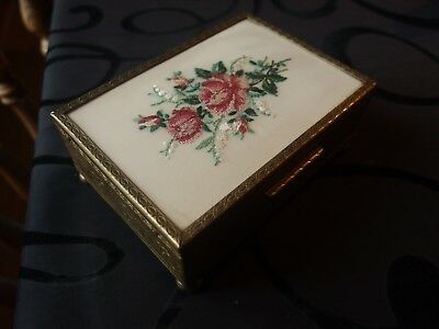 Vintage 1950s Petit Point Embroidered Dressing Table Trinket/Jewellery Box