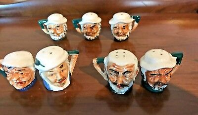 Vintage  Salt And Pepper Shakers,  3 Sets   Small Toby Mugs (Japan) Handpainted