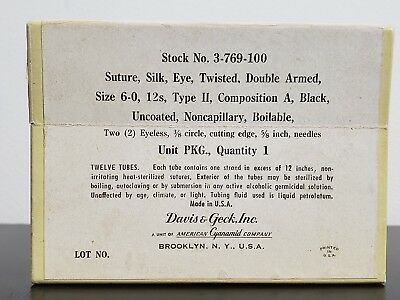Antique Davis & Geck Silk Suture Box of 9 In Glass Medical History
