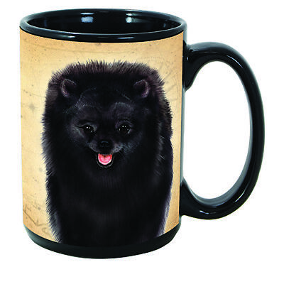 Pomeranian Black Faithful Friends Dog Breed 15oz Coffee Mug Cup