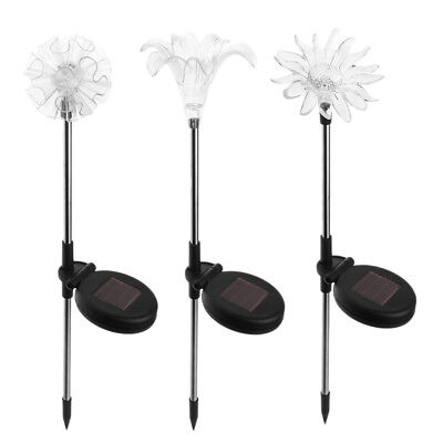 3pcs LED Solar Garden Lights Flower Color Changing Stake Lawn Yard Outdoor Decor