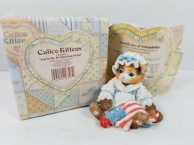 """Vintage 1994 Calico Kittens """"You're My All-American Friend"""" 129607, Mint in Box"""