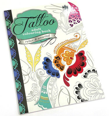 Tattoo Adult Colouring Book Draw Art Therapy Relax Meditation 60 Pages Patterns